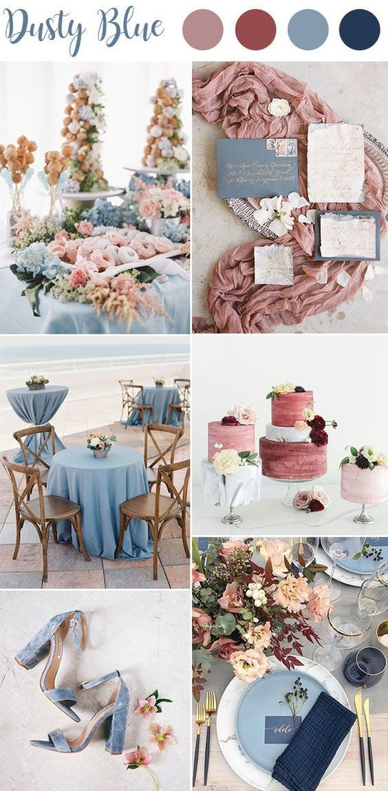 Hottest Wedding Color Palettes For 2019 Dusty Blue