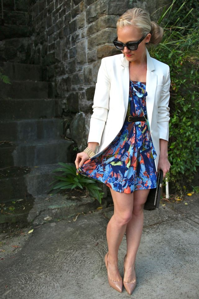 Blazer//Florals~ Long skirt worn as a dress...genius!