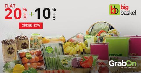 Your Grocery Basket Just Got Bigger. #Bigbasket Offers Flat 20% Off + Extra 10% #Cashback. http://www.grabon.in/bigbasket-coupons/