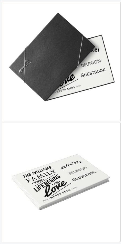 Elegant Family #Reunion #Guestbook Typography #BlackWhite you can add your family name and date #Party #giftideas https://www.zazzle.com/family_reunion_guestbook_typography_black_white-256783543173015683