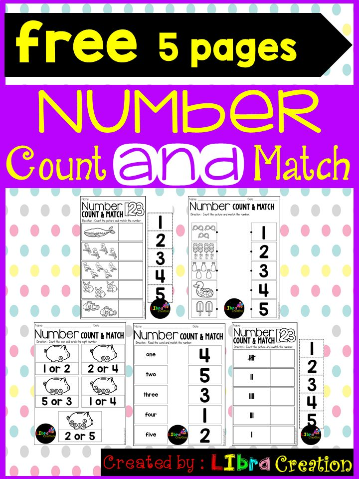 Free 5 Pages!!!  This product includes five different activities how to teach your little learner to learn the numbers. Easy and fun to learn the number.  Preschool, Preschool Worksheets, Kindergarten, Kindergarten Worksheets, Number, Number Writing Practice, Number Trace & Color, Number Color & Sort, Number Count & Match, Number Activities, Number Worksheet.