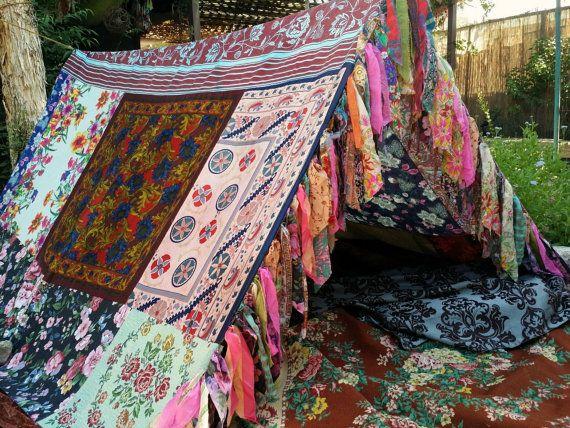 Boho Zelt Tipi böhmischen Wandteppich Glamping Seide Hippie Schals Gypsy Hippie Patchwork Baldachin Hochzeit Dekoration Foto Prop Hintergrund Böhmisch