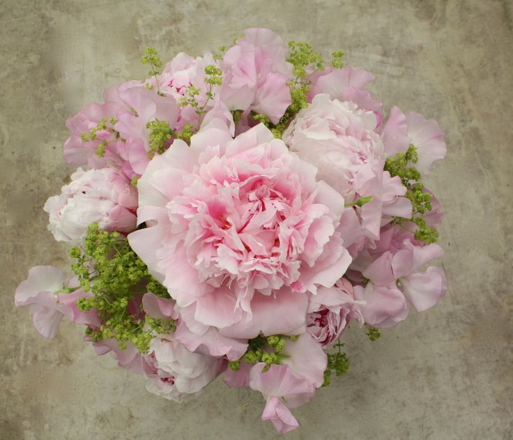 Stunning pink peony & sweet pea bouquet.