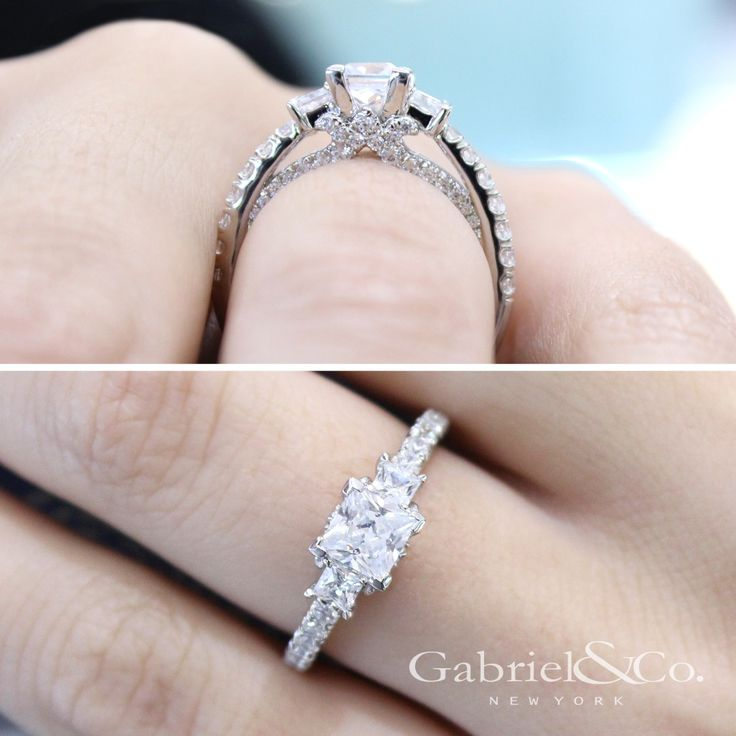 Gabriel & Co.-Voted #1 Most Preferred Fine Jewelry and Bridal Brand.  14k White Gold Princess Cut 3 Stones  Engagement Ring
