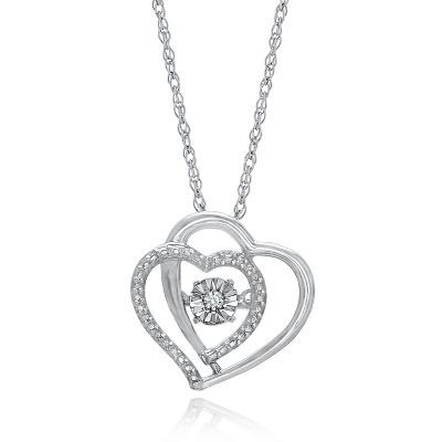 The Beat of Your Heart™ Diamond Double Heart Pendant in Sterling Silver  available at #HelzbergDiamonds