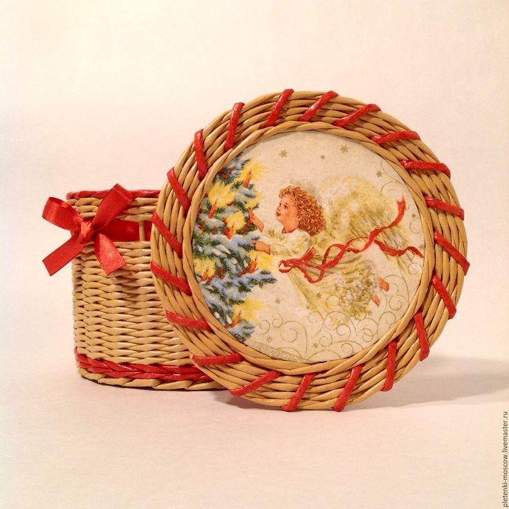 Купить Шкатулка из бумажной лозы Ангел - бежевый, сосна, шкатулка, плетение из газет, плетение из бумаги