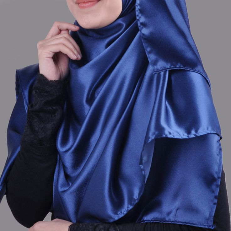 Basic Plain Wide Satin Silk Shawl in Blue (Free Hijab Pin!) - BAJUFOUNDRY