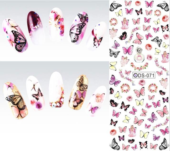 Pretty Girl Nail Art Water Transfer Nails Sticker Sexy Fresh Colored Butterfly Design Watermark Warps Fingernails Decals