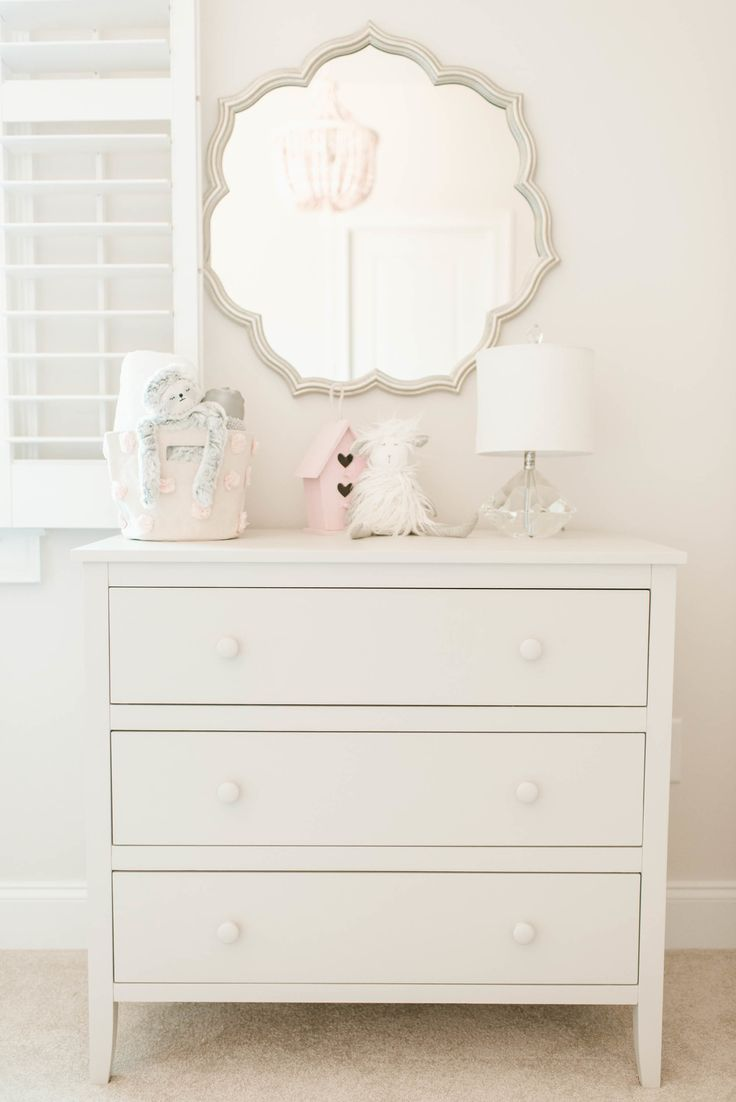 Silver Petal Mirror with White Dresser in Girl's Pink, White and Gray Nursery
