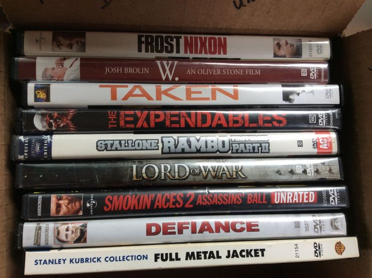 Send someone a summer movie box! Nine War Thrillers action political DVDs. Send someone a summer movie box! Lord of War - Nicolas Cage. W. - Josh Brolin an Oliver Stone film. Rambo First Blood Part 2 - Stallone. Full Metal Jacket - Stanley Kubrick collection. | eBay!