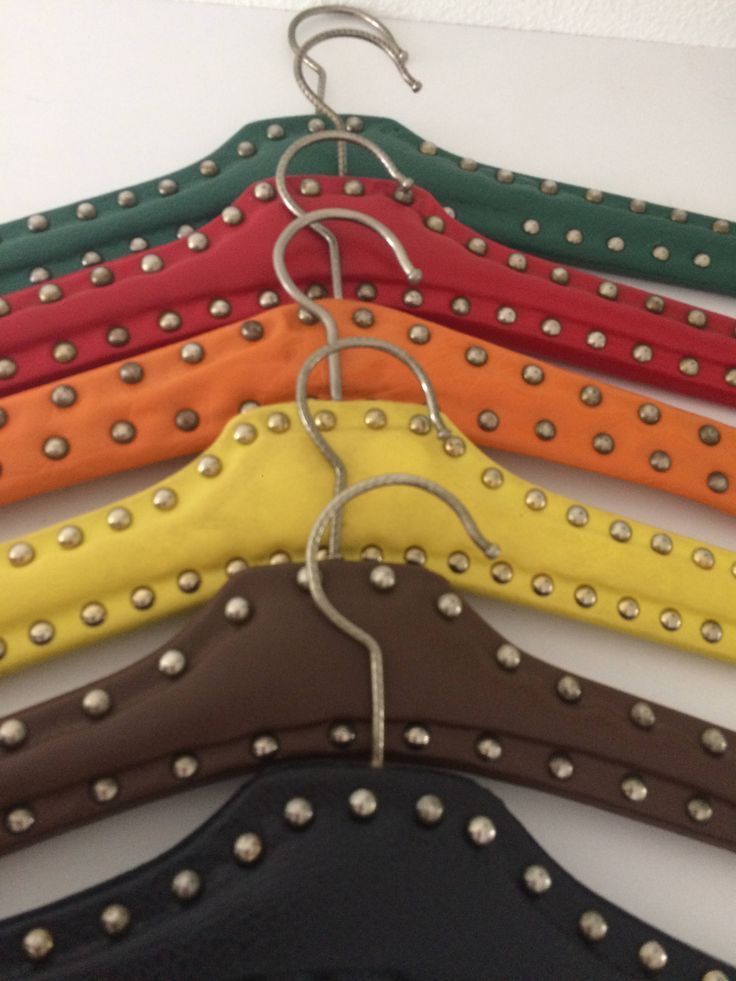 Vintage set of 6 faux leather clothes hangers in brown, red, black, yellow, green and orange by MORETHANVINTAGENL on Etsy