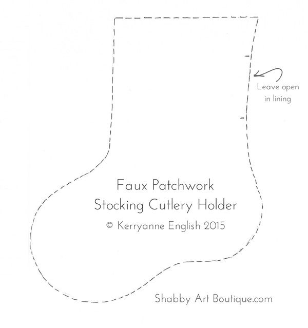 Template for faux patchwork stocking cutlery holder