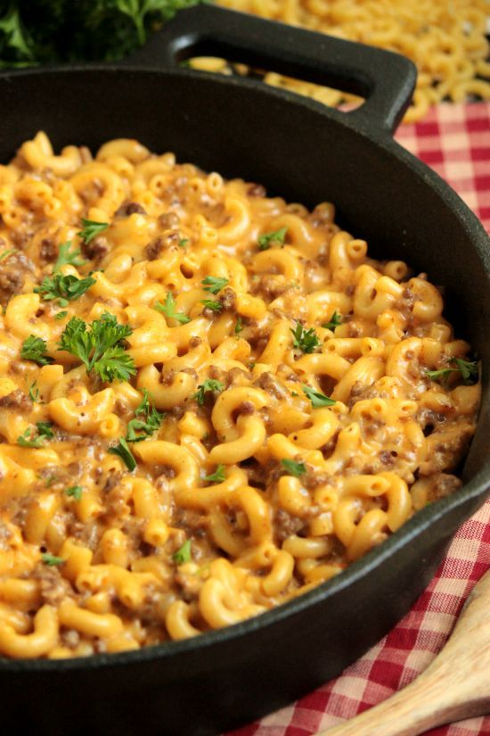 Cheeseburger Macaroni Skillet  - Homemade Hamburger Helper--This is really good.  It really tastes like Hamburger Helper...only with real cheese instead of fake cheese flavor.  I had 2c Colby-jack and mixed one cup of Velveeta and one cup of Sharp cheddar for the rest of the cheese mix.  Also, I had regular seasoning salt.