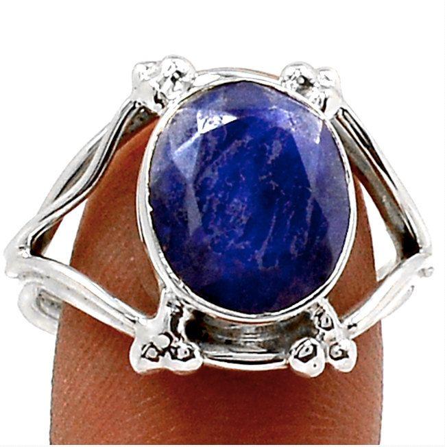 Sz 9, Genuine Ultramarine Blue INDIAN SAPPHIRE Oval Gemstone, 925 Solid Sterling Silver Fashion Ring Jewellery. by Ameogem on Etsy