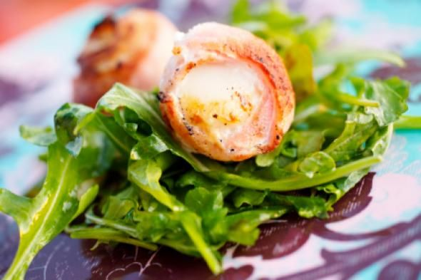 bay scallops wrapped in center-cut bacon perched atop a mache & fennel ...
