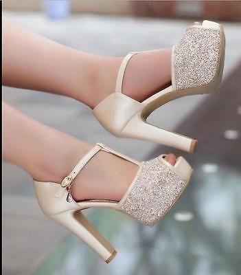 Mujeres Peep Toe Altos Plataforma Correa de estilo T Tacones gruesos Boda Zapatos Sexy