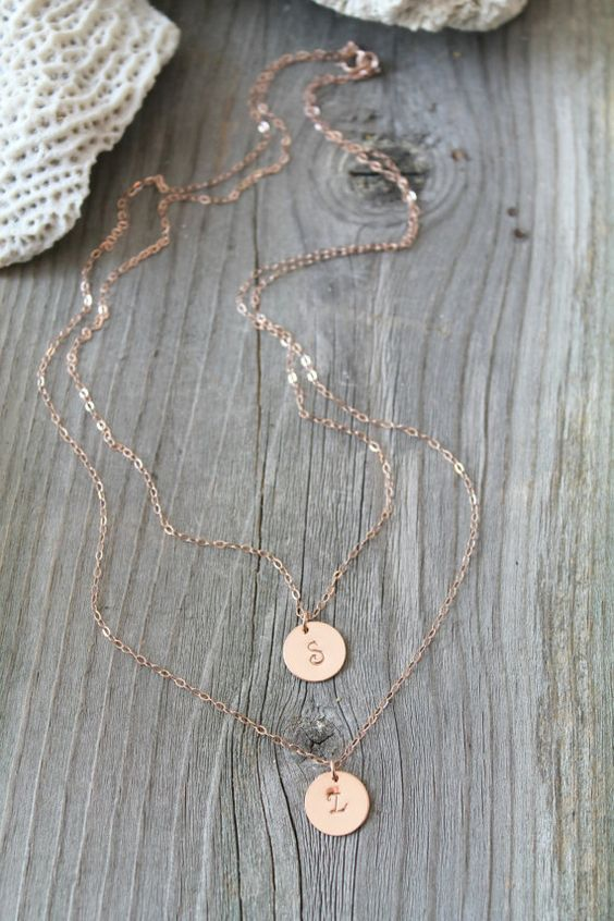 Layered Initial Necklace, 14K Rose Gold Filled, personalized, Monogram, Custom stamped letters, double chain,two (2) strands,multi,pink gold