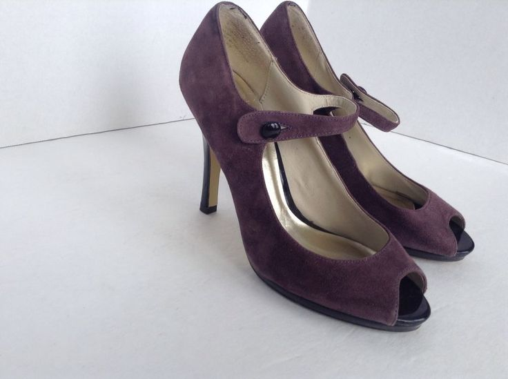 Steve Madden Womens Peep Toe Purple Lavendar Suede Strap High Heel Shoes Sz  8 #SteveMadden