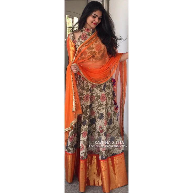 Kalamkari kanchi. . . . . kavithagutta kalamkari kanchi indianweaves goldenthreads indianweddings lehenga goldenthreadsproduction