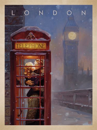 London Phone Booth - This series of romantic travel art is made from original oil paintings by artist Kai Carpenter. Styled in an Art Deco flair, this adventurous scene is sure to bring a smile and a smooch to any classic poster art lover!<br />