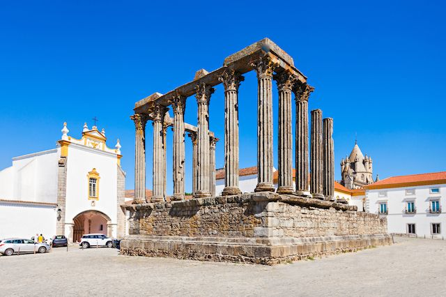 Evora, Portugal The well-preserved Roman temple and old town of Evora were once dominated by the Romans and later the Portuguese kings. Discover the old Roman ruins and other impressive historic sites in this ancient city.