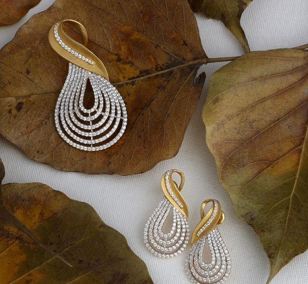 diamond jewellery set pendant earrings online india...