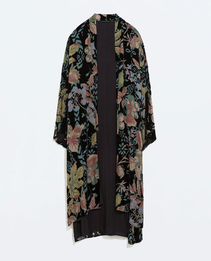 LONG VELVET KIMONO from Zara | My Style | Kimono, Kimono ... Vintage Bohemian Style Clothing