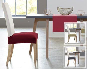 Housse bi-extensible pour assise de chaise - Lot de 2