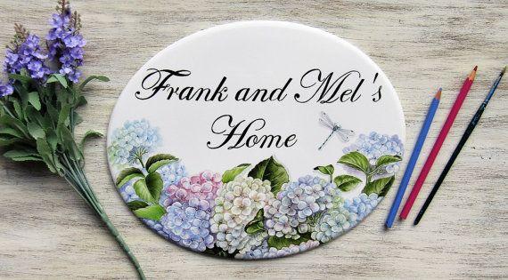 Targa personalizzata con ortensie Targa per la casa dipinta a mano targhetta per esterno targa porcellana targa indirizzo targa per porte