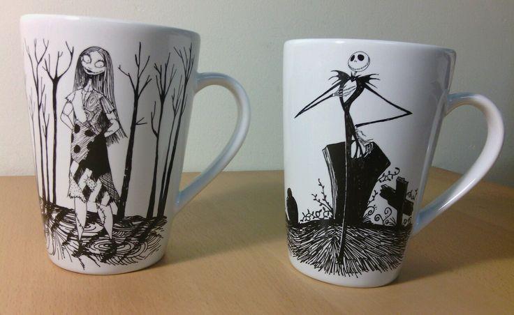 Rare Nightmare Before Christmas Jack And Sally Coffee Mugs