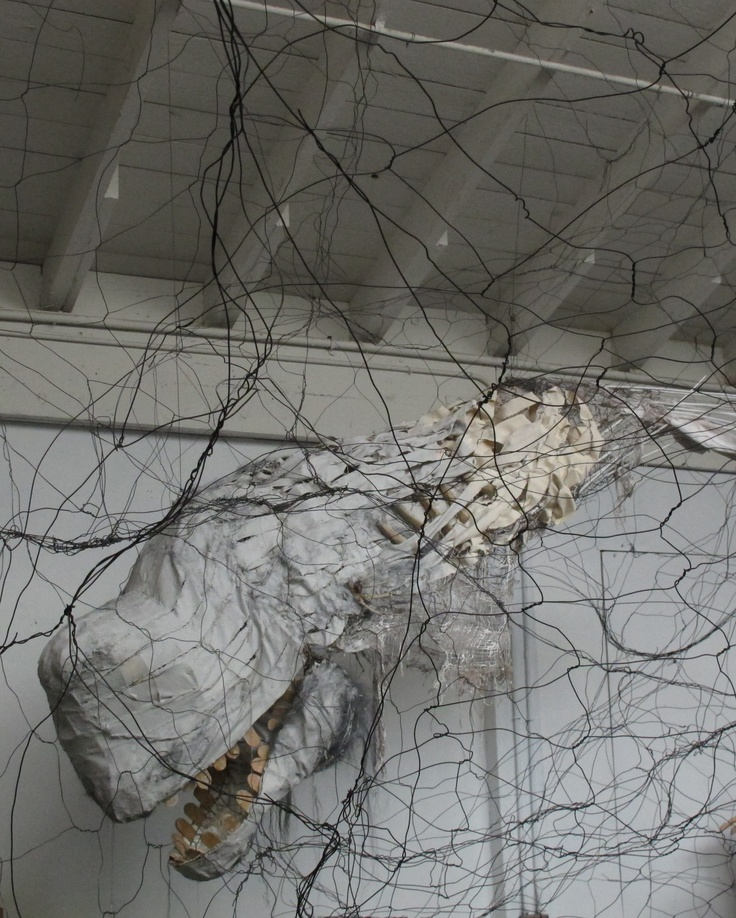 Functioning Whale Puppet and Wire Installation by Ishi Glinsky