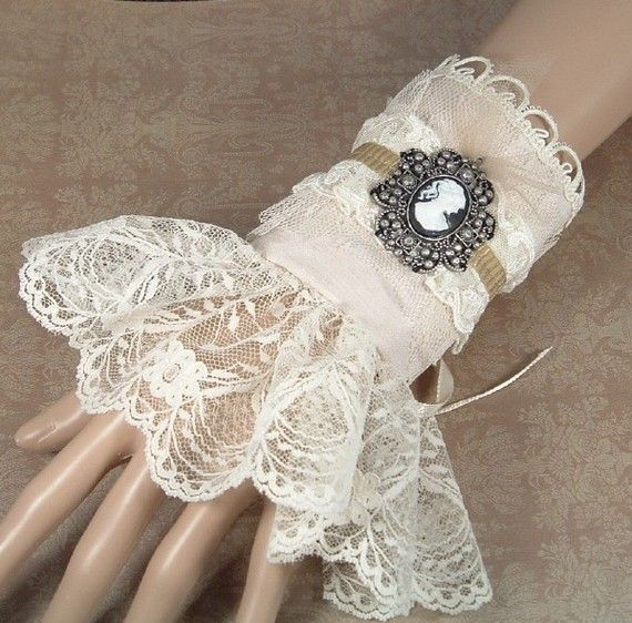 Steampunk Victorian Cuff in Champagne with Cream by SeamsVictorian,