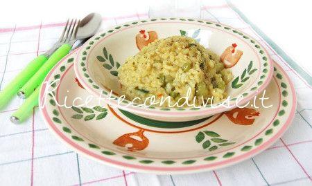 Risotto con piselli, zucchine e fior di zucca