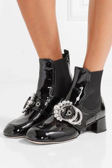 Miu Miu - Embellished Patent-leather Ankle Boots - Black