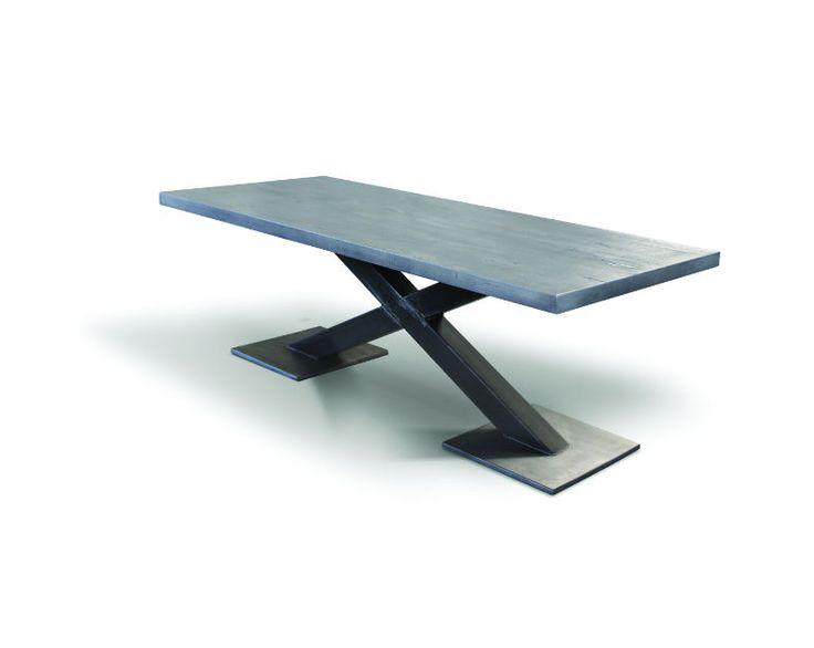 solid oak table - industrial rustic design