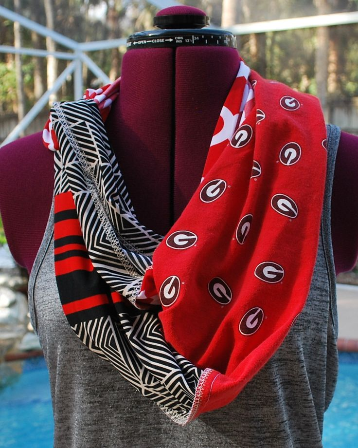 University of Georgia Bulldogs Game Day Infinity Circle Scarf Upcycled Shirt, Exposed Seams by gamedaychicflorida on Etsy