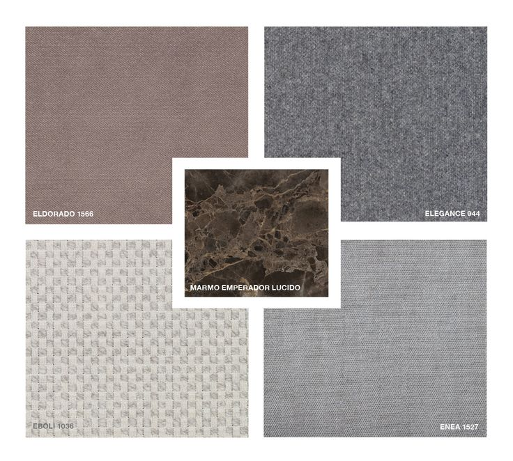 Marble: Emperador glossy Fabrics: Eboli 1036, Enea 1527, Elegance 944 Velvet: Eldorado 1566