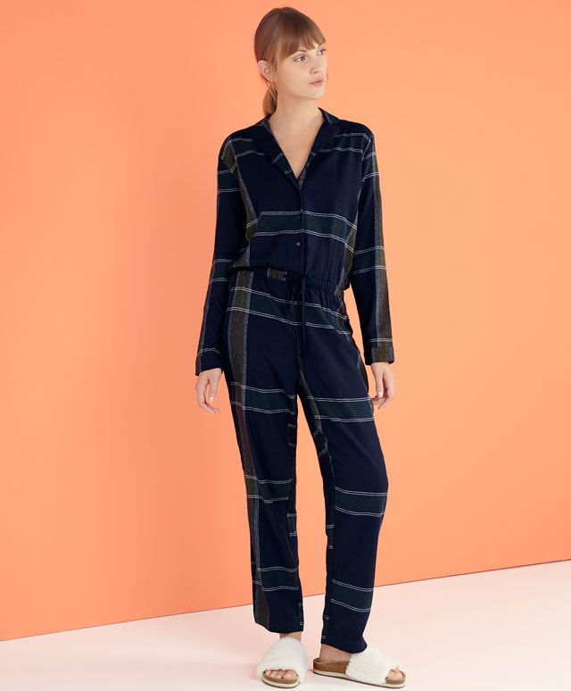 Navy checked jumpsuit - OYSHO
