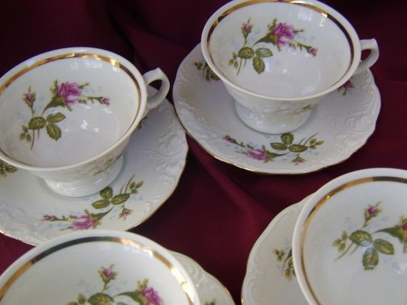 9 best china antique vintage images on pinterest dish dishes and vintage moss rose tea cups and saucers set of 4 by paperdoll43 fandeluxe Image collections