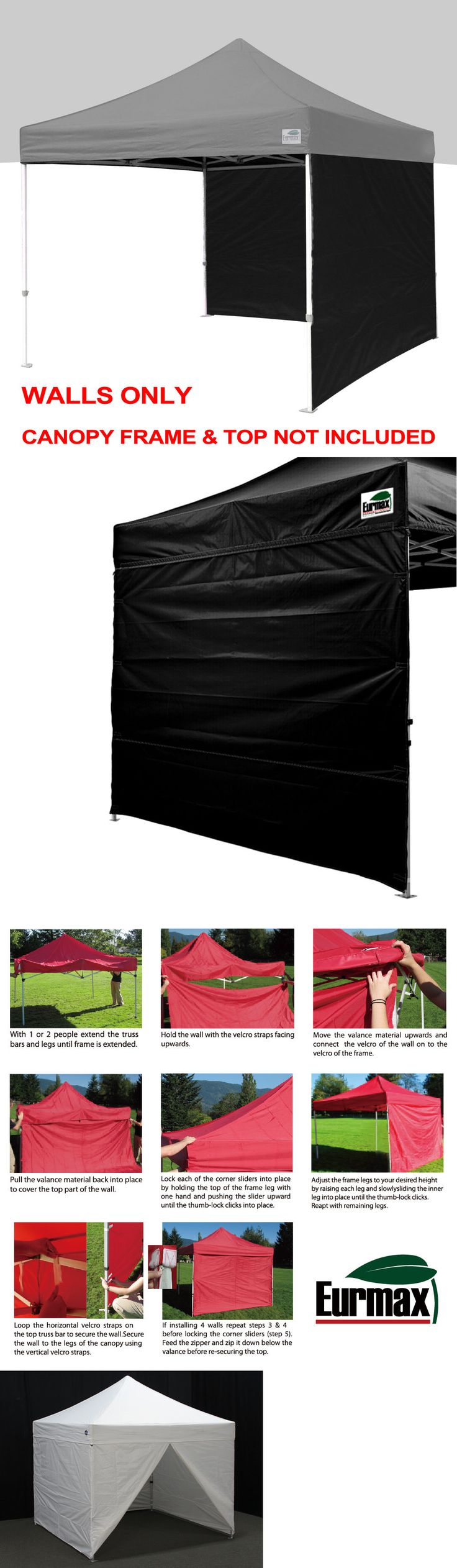 Tent and Canopy Accessories 36120: 2Pcs Side Walls Panels For 5X5 10X10 10X15 10X20 Ez Pop Up Canopy Outdoor Tent -> BUY IT NOW ONLY: $45.95 on eBay!