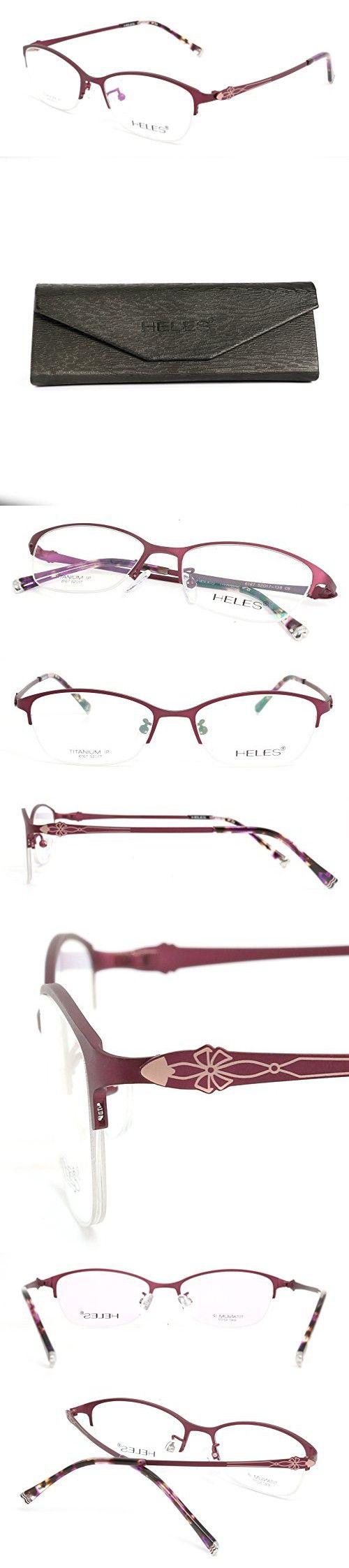 Heles Women Sexy Pure Tianium Half Rim Glasses Optical Frame, Prescription Eyeglasses Frames, Black 52/17/138