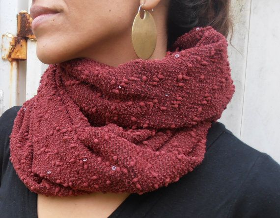 Retro Beadwork Sequins Scarf Red Burgundy by FashionAndScarves