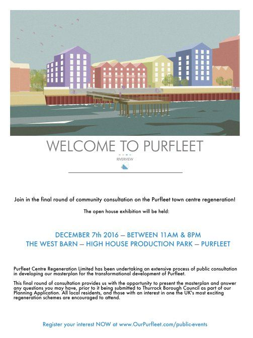 Final Community Consultation for #OurPurfleet will be held on Wednesday 7th December 11am to 8pm. Please join us to find out the plans for one of the UK's most exciting development projects! #OurPurfleet #Thurrock
