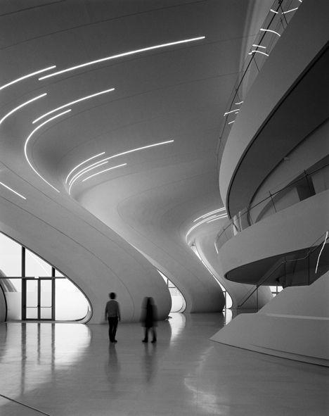 a genius has been lost:  Heydar Aliyev Centre, Zaha Hadid, 2013, photo by Hélène Binet