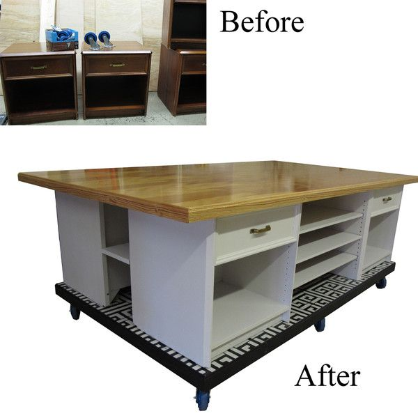 RePurpose: 4 Night Stands on a base with casters, add table top leaving negative space between stands so you can add a shelf or a few in between. the great part is the nightstands don't even have to match. Just the same height, paint, change out the hardware to match. Fantastic for a craft room, art studio, garage, basement.
