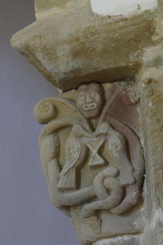 Iglesia de Santa María. Villanueva de Teverga (Asturias) capitel romanico