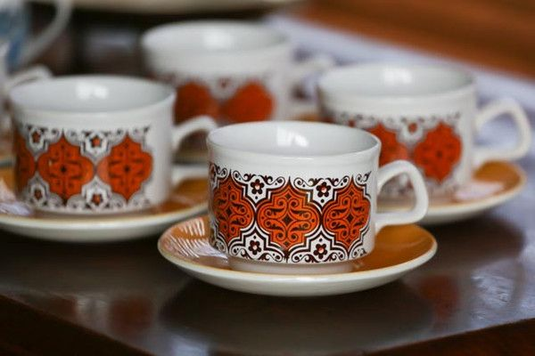 Retro Staffordshire Cups and Saucers