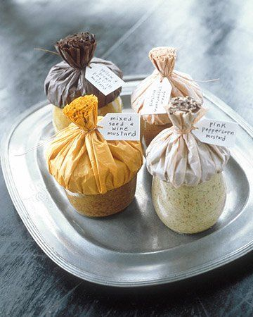 diy gourmet mustards - martha stewart Also, a different take on the fabric over jar lids thing.