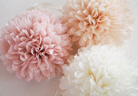 $28 - 7 Tissue Party Poms .. Wedding Reception Decorations .. Custom Colors