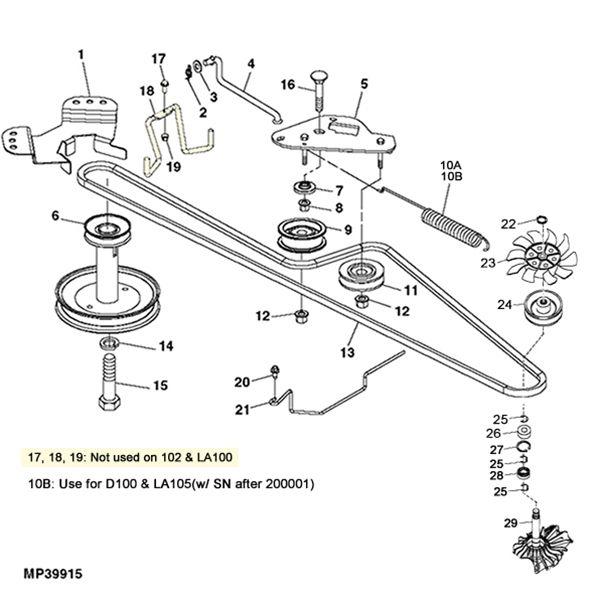 john deere l120 engine pulley diagram